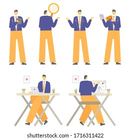 Set of Businessman character design vector with illustration