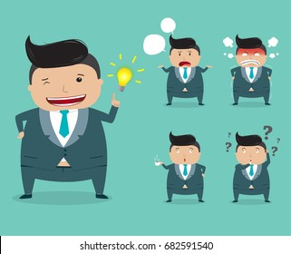 Set of businessman character in different poses, Boss character