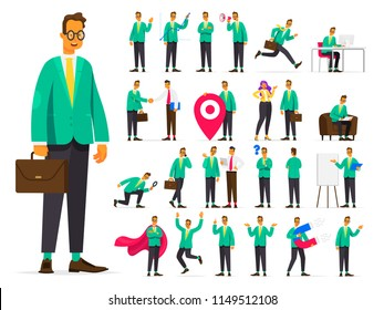 Set of businessman character in different situations. Working situations and concepts. Negotiations, attraction of investments, search of the personnel advertising of a product. Vector illustration