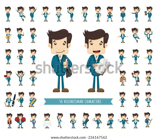 Set of businessman character , eps10 vector format