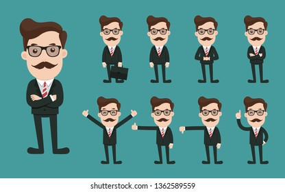 Set of businessman character poses, Business concept cartoon.