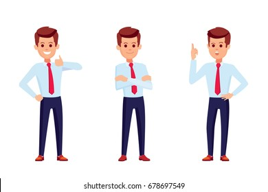 Set of businessman character in shirt standing up straight in various poses . Businessman give thumb up sign. Business man with crossed arms, crossed hands, folded hands.Businessman get idea. Isolated