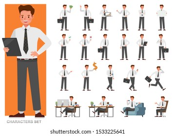 Set of businessman character vector design. Presentation in various action with emotions, running, standing and walking. People working in office planning, thinking and economic analysis.