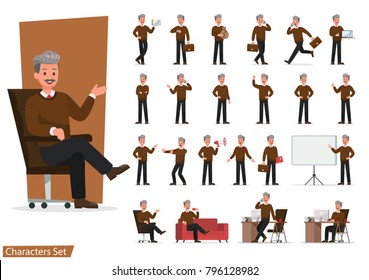 Set of Businessman character vector design doing different gestures. Presentation in various action with emotions, running, standing, walking and working.