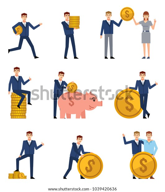 Set of businessman characters posing with coins. Businessman holding giant coin, running, putting money into piggy bank and showing other actions. Flat style vector illustration