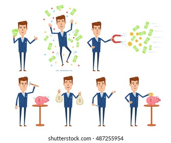Set of businessman characters posing in different situations. Successful businessman posing with piggy bank, money bags. Finance, money concept. Simple vector illustration