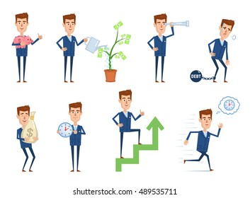 Set of businessman characters posing in different situations. Cheerful businessman posing with piggy bank, big money bag, spyglass, money tree. Successful businessman concept. Vector illustration