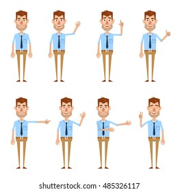 Set of businessman characters showing different hand gestures. Cheerful businessman showing thumb up, pointing, greeting, victory sign and other hand gestures. Simple vector illustration