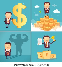 Set of businessman characters standing on the winning podium holding up winning trophy, standing on the huge money staircase, with dollar sign, casting strong man shadow. Successful concept. Vector