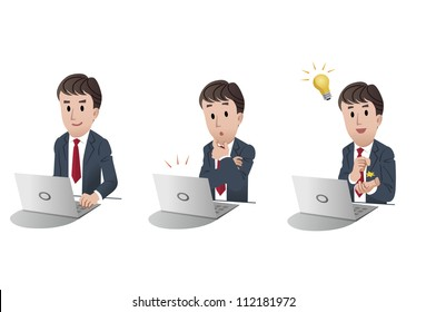 Set of businessman at a computer, with idea bulb, noticing alert on white background, isolated, cartoon