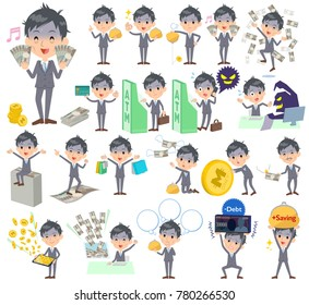 A set businessman with concerning money and economy. There are also actions on success and failure. It's vector art so it's easy to edit.