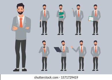 Set of businessman creation character pose with occupation job in uniform suit.