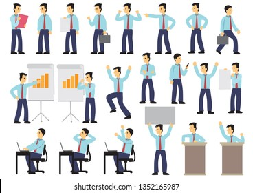 Set of businessman in different expression and poses. Isolated vector illustration.