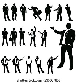 set of businessman in different poses