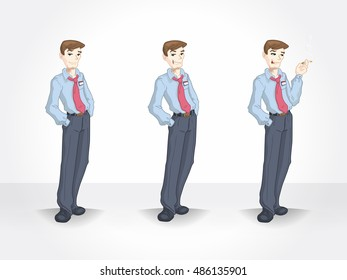 Set of businessman in different poses. Smoking character.