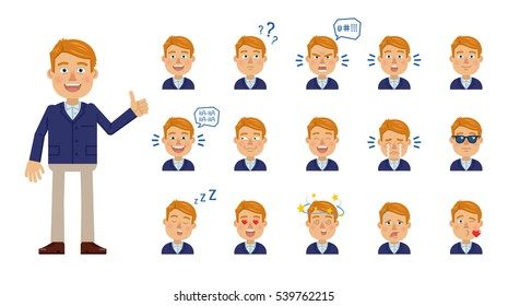 Set of businessman emoticons. Blonde businessman avatars showing different facial expressions. Happy, sad, smile, laugh, cry, surprised, in love, angry and other emotions. Simple vector illustration