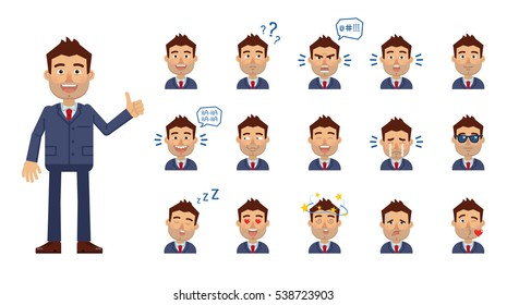 Set of businessman emoticons. Man avatars showing different facial expressions. Happy, sad, cry, laugh, surprised, sleep, angry, in love and other emotions. Simple style vector illustration