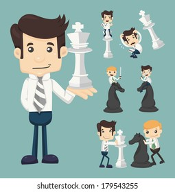 Set of businessman fighting, playing chess , eps10 vector format