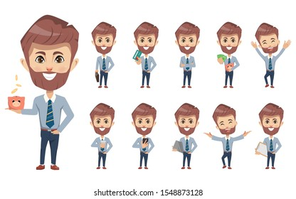 Set of businessman financial creation character pose with occupation job in uniform suit. Chibi cartoon business people style.