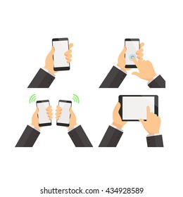 Set of businessman hold smartphone and tablet. Blank screen vector illustration