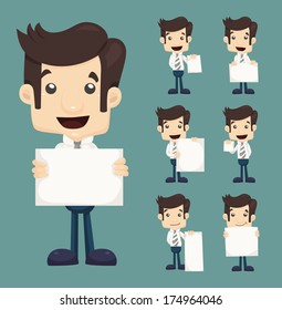 Set of businessman holding blank notes characters poses , eps10 vector format