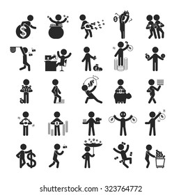 Set of businessman investment , Human pictogram Icons , eps10 vector format