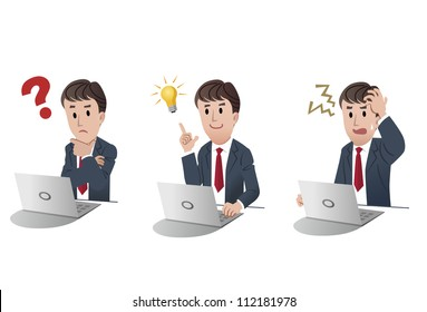 Set of businessman at a laptop computer, with question mark, with idea bulb, getting nervous in trouble on white background, isolated, cartoon