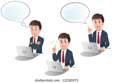 Set of businessman at a laptop computer, with speech balloon, with thinking balloon on white background, isolated, cartoon