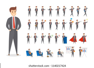 Set of businessman or office worker character in suit with various poses, face emotions and gestures. Isolated flat vector illustration
