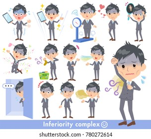 A set of Businessman on inferiority complex. There are actions suffering from smell and appearance. It's vector art so it's easy to edit.
