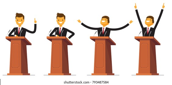 Set Businessman or politician in suit at tribune with microphones making a speech. Orator or narrator, spokesman or leader at debates or presentation for audience. Business meeting or conference theme