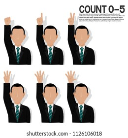 Set of businessman is presenting hand sign over his head for counting 0 to 5