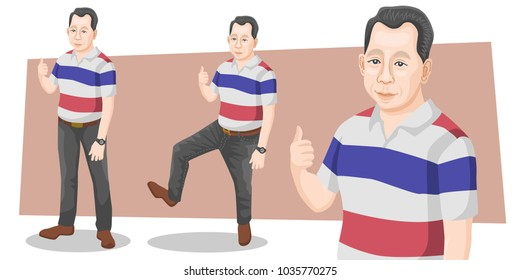 Set of businessman real cartoon character adult handsome smart guys standing thumb up in casual flat design on white and color background for presentation office work flat vector illustration