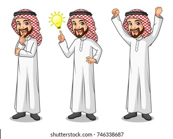 Set of businessman Saudi Arab man cartoon character design get great idea inspiration light bulb, thinking thoughtful gesture, and celebrating victory winner successful success with raised up arms.