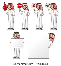 Set of businessman Saudi Arab man cartoon character design holding a blank empty sign board banner billboard card poster, number one big foam hand finger, stop, right correct yes and wrong no signs.