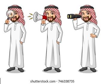Set of businessman Saudi Arab man cartoon character design, looking through binoculars, holding magnifying glass, and talking yelling shouting announcement with megaphone.