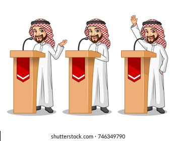 Set of businessman Saudi Arab man cartoon character design politician orator public speaker giving a talk speech presentation standing behind rostrum podium, isolated against white background.