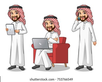 Set of businessman Saudi Arab man cartoon character design working on gadgets, tablet, laptop computer, and mobile phone, isolated against white background.