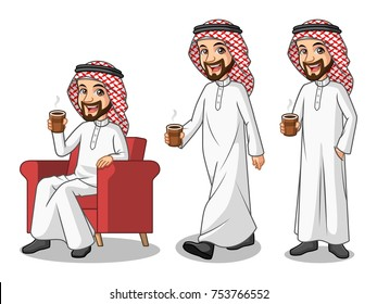 Set of businessman Saudi Arab man cartoon character design making a break relaxing with holding drinking a coffee tea, isolated against white background.