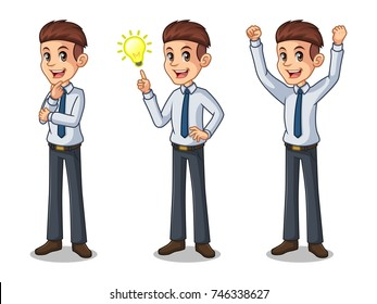 Set of businessman in shirt cartoon character design get great idea inspiration light bulb, thinking thoughtful gesture, and celebrating victory winner successful success with raised up arms.