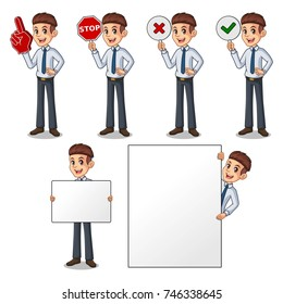 Set of businessman in shirt cartoon character design holding a blank empty sign board banner billboard card poster, number one big foam hand finger, stop, right correct yes and wrong no signs.