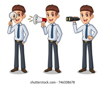 Set of businessman in shirt cartoon character design, looking through binoculars, holding magnifying glass, and talking yelling shouting announcement with megaphone, isolated against white background.