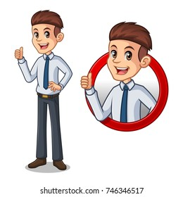 Set of businessman in shirt cartoon character design, inside the circle logo concept with showing like, ok, good job, satisfied sign gesture with his thumbs up, isolated against white background.