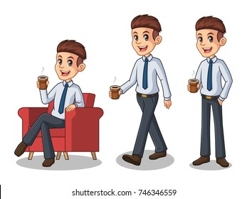 Set of businessman in shirt cartoon character design making a break relaxing with holding drinking a coffee tea, isolated against white background.