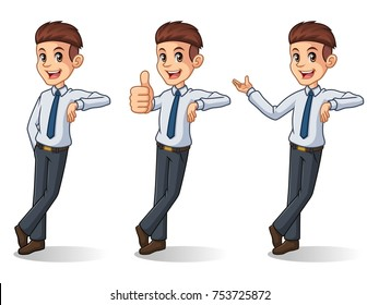 Set of businessman in shirt leaning against cartoon character design, isolated against white background.