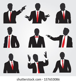 Set of businessman silhouettes in different situations