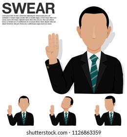 Set of businessman is swearing