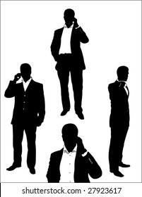 set of businessman using a mobile phone