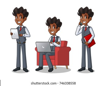 Set of businessman in vest cartoon character design working on gadgets, tablet, laptop computer, and mobile phone, isolated against white background.