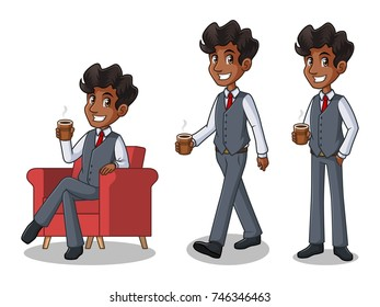 Set of businessman in vest cartoon character design making a break relaxing with holding drinking a coffee tea, isolated against white background.